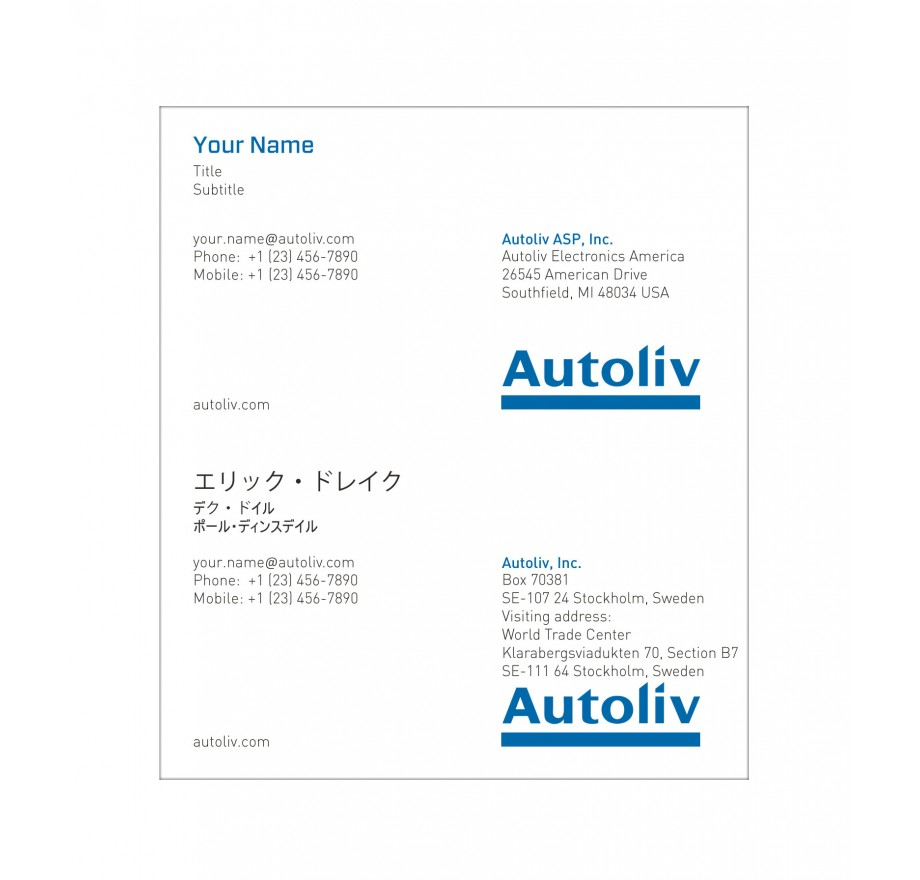 Business card autoliv america english japanese reheart Image collections