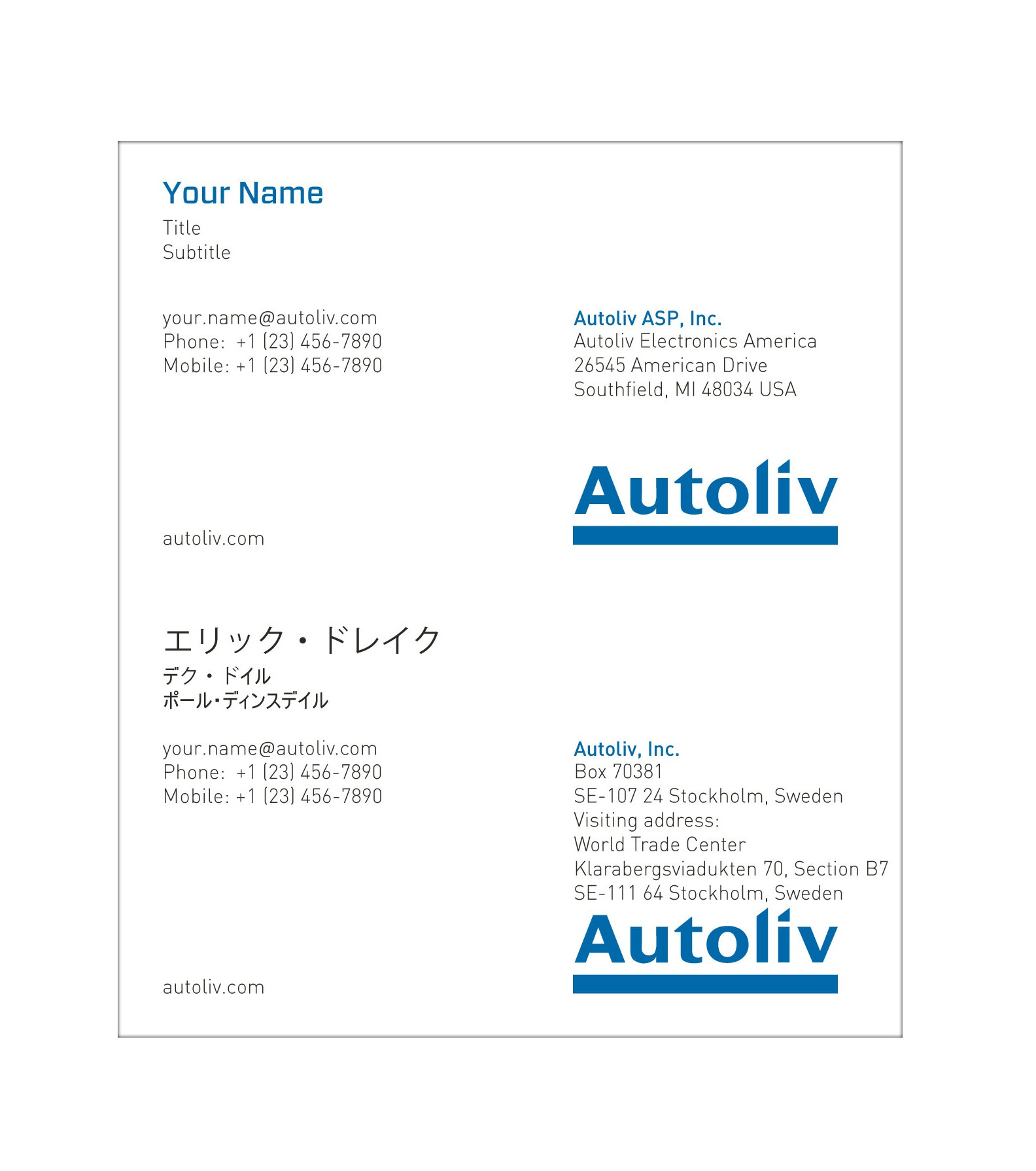 Business card autoliv america english japanese reheart Gallery