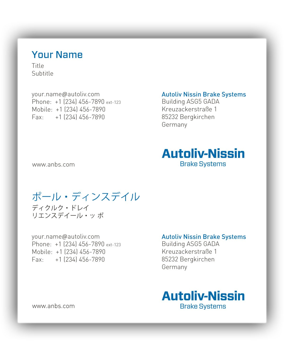Business card autoliv nissin english japanese reheart Image collections