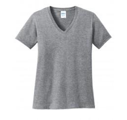 Port & Company® Ladies 5.4-oz 100% Cotton V-Neck T-Shirt.
